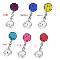 Wholesale Smile Face Nurse Watch Novel Design HOT Nurse Clip on Fob Brooch Pendant Hanging Smile Face Watch Pocket Watch New