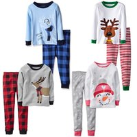 Wholesale 2016 Kids Christmas Outfits Sets Baby Boys Girls Christmas Elk Pajamas Set Kids Spring Autumn Striped Plaid Shirts Pants Sleepwear