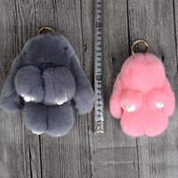Wholesale Real Mink Fur Small rabbit Monster Pom Pom pendant Doll Ball Key ring keychain Bag car Charm