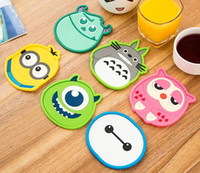 animal friendly fashion - Fashion Hot Silicone dining table placemat coaster kitchen accessories mat cup bar mug cartoon animal drink pads