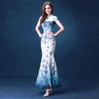 beautiful cheongsam - 2016 New elegant blue fashion long lace chinese cheongsam dresses beautiful clothing Maxi Bodycon Dresses