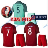 Wholesale New Product Uniforms Kit Youth Kids Soccer Jersey European Cup Portugal Flgo Ronaldo Nanl Red Light Green Away Home Jerseys