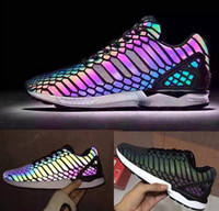 pvc snake leather - 2016AdidasThe chameleon men s and women s shoes ZX FLUX XENO new reflective black snake spirit leisure shoes