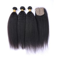 base coarse - 9A Mongolian Human Hair With Silk Base Closure Kinky Straight Bundles With Closure Coarse Yaki Weaves With Silk Top Closure