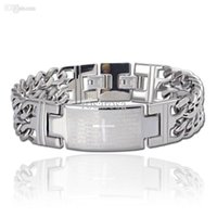 bible word - cross stainless steel bracelet for men jewelry with bible words BR