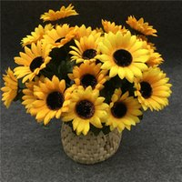 artificial flowers online - Sunflowers Simulation Artificial Display Flower Silk Cloth Material Yellow Home Party Flowers Plant Decoration Online Hot Selling jy669