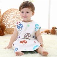 Cheap Swaddle Baby Sleeping Bag Summer Sleepsacks Sleeping Bags Swaddling Newborn Cotton Blanket Cartoon Mushroom Vest Infant Pajamas 6 Layers