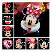 craft embellishments - Mixed Minnie Mickey Mouse Red Dot Bow Planar Resin Cabochons Flat Back Hair Bow Center Card Making Craft Embellishments DIY Crafts