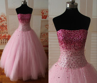 Wholesale Fashion Sweetheart Rhinestone Ball Gown Sweet Dresses Prom Dresses Beaded Floor Length Lace up Back Tulle Pink Quinceanera Dresses