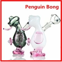 beautiful white glass - 12cm Beautiful Glass Bong penguin Shape Cute Pipes mm joitn Green White Color Pink Base With Dry Herb Bowl Christmas Gift Hookahs DK01