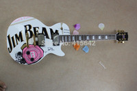 beam guitar - 20 JIM BEAM model with pink rose flower decal on body top white color OEM Standard electric Guitar