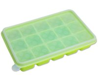 baby food trays - Silicone Large Ice Cube Tray with Lid Flexible Baby Food Storage Container Freezer Trays Reusable BPA Free
