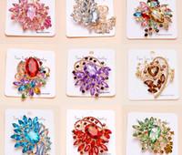 Wholesale Hot Sale Colorful Rhinestone Crystal Big Water Drop Glass Dangle Bridal Brooch Wedding Pins Fashion Women s Pendant Many Style