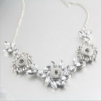 Cheap Newest Design 3 Snap Pendant Necklace With Lace Rhinestone Fit 18mm DIY Ginger Snap Button Jewelry NAB0033
