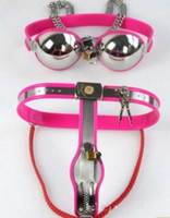 chastity belt - M117 new bondage female stainless steel lockable adjustable chastity devices chastity bra sex toys for women bliue pink to choose