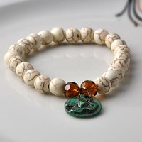 Wholesale New bracelet round pendant with cross and heart natural Semi Precious Stone Beads white turquoise bangle fashion Jewelry for women girl Yoga