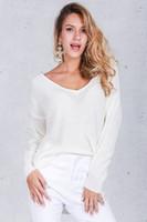 Wholesale 2016100923 Sexy v neck split knitted sweater Women black long sleeve pullovers knitwear Autumn winter white jumper pull femme