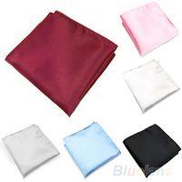 Wholesale Men s Silk Satin Pocket Hanky Plain Solid Color Wedding Party Square Hankerchiefs WI MHG