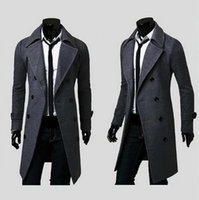 Wholesale 2016 new fashion brand mens wool Warm winter coats long overcoat men Double Breasted trench coat Slim Fit Windproof down jacket