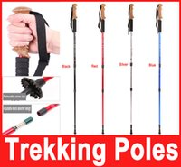 aluminum telescopic handle - Adjustable Telescopic Aluminum Alloy Hiking Walking Stick Trekking Pole Section Anti shock Anti skid Ultra light Alpenstock Hot