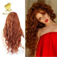 Wholesale New Style Synthetic Lace Front Wigs Heat Resistant Synthetic Curly Red Wavy Natural Wigs for beautiful girl