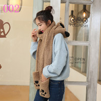Wholesale 2016 New Fashion Women Scarf Set Thick Warm Hat Scarf and Gloves Set Winter Hats Scarfs Sets with Pockets Women s Hats