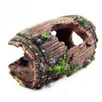 Wholesale Aquarium Fish Tank Artificial Barrel Resin Ornament Cave Landscaping Decoration