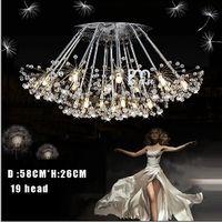 Wholesale K9 Crystal Pendant Light Creative Dandelion LED Crystal Chandeliers leds head droplight Modern Minimalist Room Lights