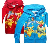 Wholesale Boys poke Hoodies Poke go Sweatshirts Bulbasaur Jeni turtle zipper outerwear hoodies kids cartoon hoodie jacket coat KKA859