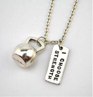 bell south - 12pcs antique silver plated Kettle bell charm and quot I choose strength quot charms Necklace Fitness Weightlifting Gym necklace