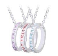 best necklaces october - 12Pcs Colors Necklaces best friends Letters Design alloy Pendant Necklace Circle Pendant Necklaces October Style