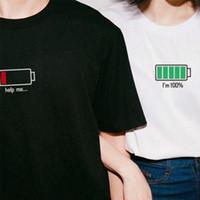 battery t shirt - 2016 couples dress summer wear short sleeved T shirt Korean ulzzang new jokes battery men and women loose short sleeves