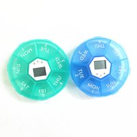 Wholesale 7 Slots Health Pill Box Case with Smart Electronic Timing Regularly Reminding Portable Organizer Pill Round Box For The Aged
