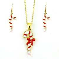 Wholesale Christmas Style Fashion Jewelry Sets Gold Plated Multicolor Enamel Christmas Crutch For Women Charms Earrings Necklace Sets