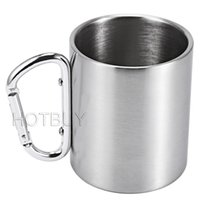 aluminium cups - 220ml Outdoor Stainless Steel Coffee Mug Travel Camping Cup Carabiner Aluminium Hook Double Wall Camping Equipment