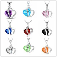 2017 collar del corazón de la manera 10 colgantes cristalinos multicolores románticos del corazón del amor de los colgantes baratos para la joyería de las mujeres China