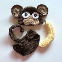 baby banana costume - Novelty Newborn Monkey Costume Handmade Knit Crochet Baby Boy Girl Animal Hat with Ears Diaper Cover Banana Set Infant Toddler Photo Prop