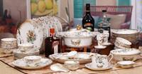 Wholesale set gold porcelain tableware ceramics dinnerware ceramics glaze cutlery set