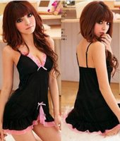 babydoll nighties - Womens Sexy Black pink Frilly Babydoll Lingerie Chemise Lingerie Nightie Ph