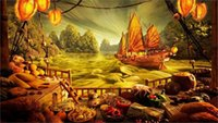 asian bedroom decor - fantasy ships game art asian oriental Silk Fabric Canvas Poster Print x36 inch Silk Poster wall decor