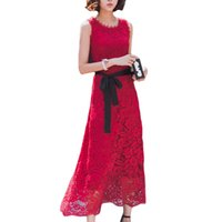 Wholesale Eurolook Women Chinlon Lace Wine Red Black White Sleeveless Bridesmaid Shift Dress prom dresses evening dresses for party