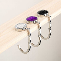 Wholesale pc Portable Folding Rhinestone Crystal Alloy Purse Handbag Bag Hanger Hook Holder Purple Newest Fashion