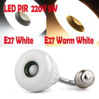 Wholesale E27 LED SMD Warm White Light Lamp IR Infrared PIR Motion Sensor Detector V W