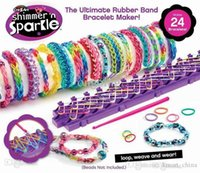 Cheap Shimmer 'n Sparkle Rainbow Loom Kit Cra-Z-Loom Bracelet Maker for with Silicone Rubber DIY color silicone braided bracelet DHL Free Shi