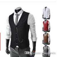 Wholesale New Arrival Formal Men s Waistcoat Fashion Groom Tuxedos Wear Bridegroom Vests Casual Slim Vest Custom Made With Chain