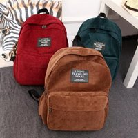 Wholesale Vintage shoolbags Backpack three color cloth Zipper type square Solid color Not waterproof Can put cosmetics wallet