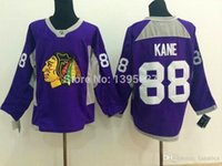 anti cancer - Newest Authentic Chicago Blackhawks Jersey Patrick Kane Purple Autographed Fights Cancer Jersey Embroidery Logo Size M XL