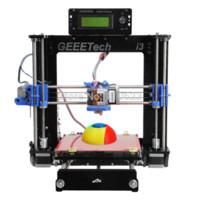 Wholesale Geeetech Black Color mm Acrylic Frame Prusa I3 Reprap Desktop D Printer Kit MK8 extruder LCD2004 Free