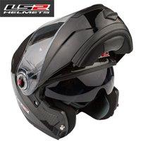 casco de la cara llena del casco de fibra de carbono EMS liberan el LS2 FF394 de la motocicleta de doble lente de cascos modulares de carreras