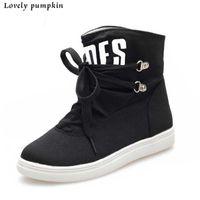 alphabet fabric - New Women Canvas Fashion Boots Lace up Alphabet Women Shoes Round Toe Flat Solid Shoes C066